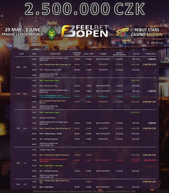 Rozpis turnajů květnové FeelBet Open o 2 500 000 Kč
